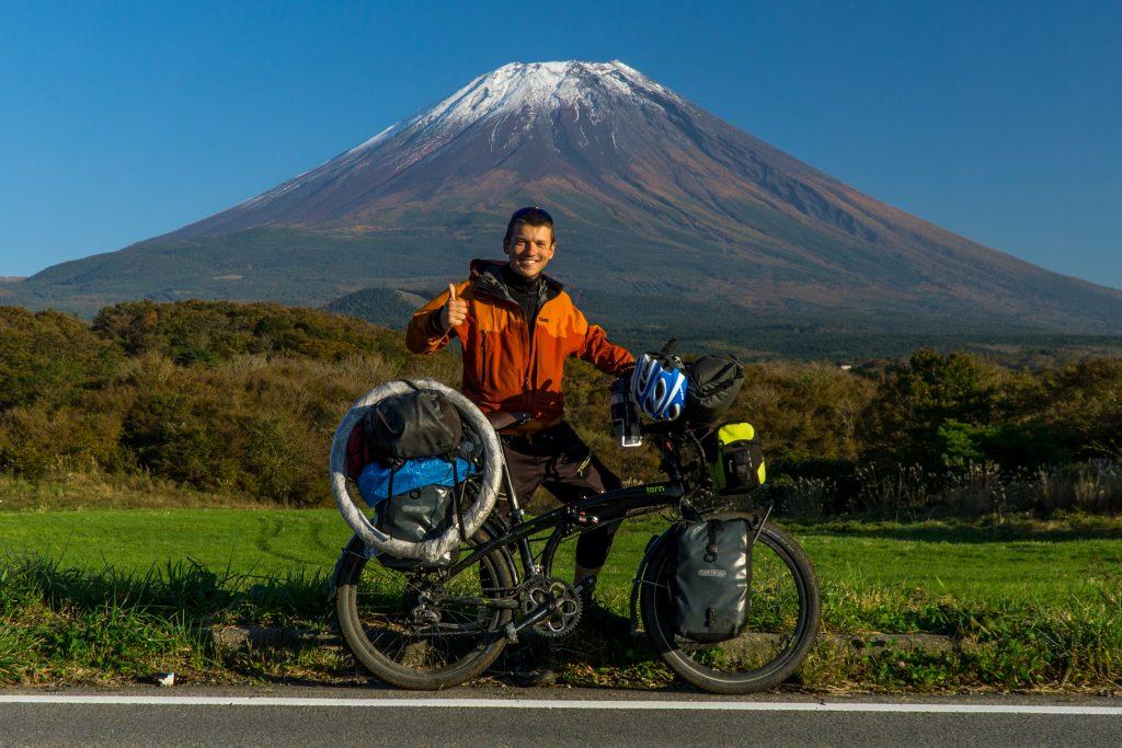 Hora fuji, skládací kolo, japonsko, zachranar na cestach
