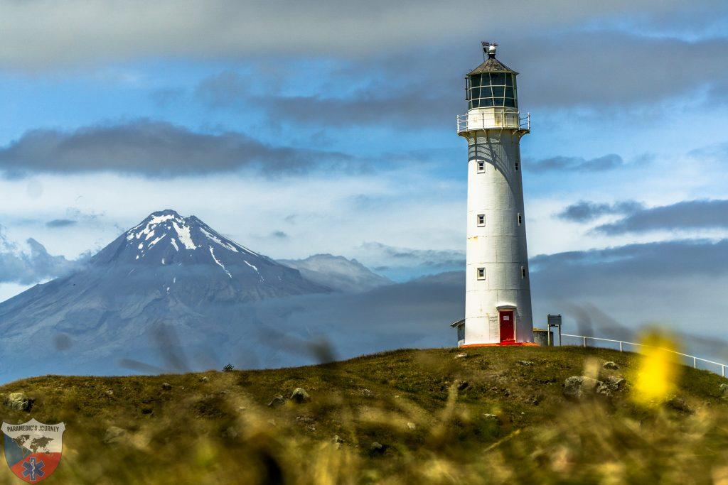 Nový Zéland, maják, Taranaki, záchranar na cestach
